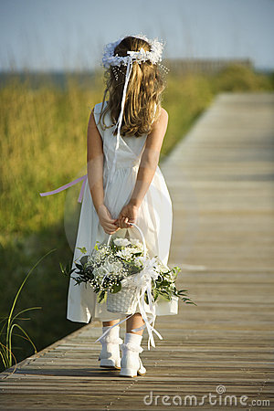 Free Flower Girl On Boardwalk Royalty Free Stock Images - 12676049