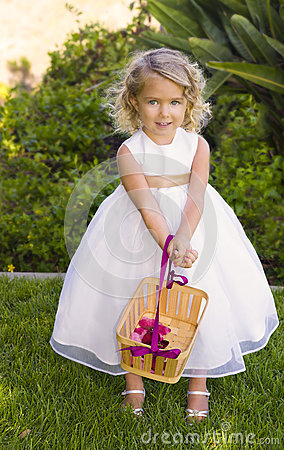 Free Flower Girl With Pink Petals Royalty Free Stock Photography - 32822517