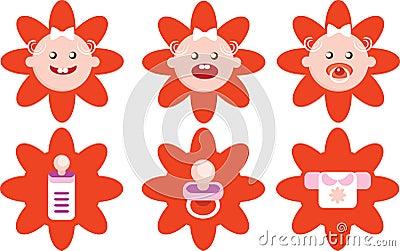 Flower Girls Icons Vector Set