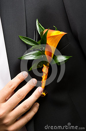 Flower on groom