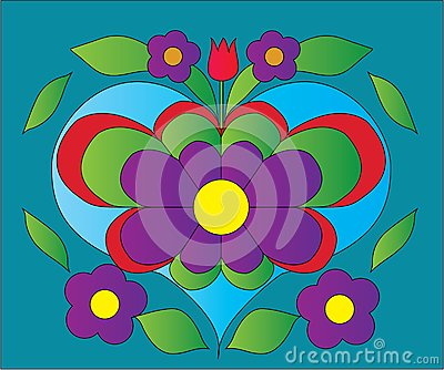 Flower heart color illustration