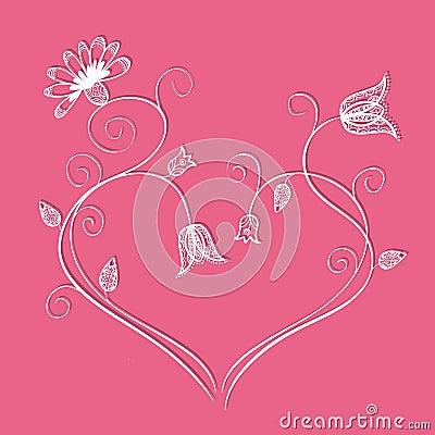 Flower heart with swirls