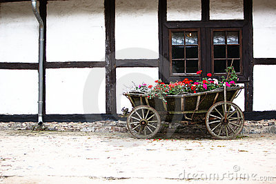 Flower Cart on Flower Horse Cart At The Old House Stock Photos   Image  11219883