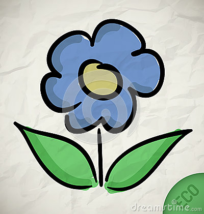 Flower icon on paper