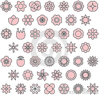 Free Flower Icon Set Stock Photos - 80724553