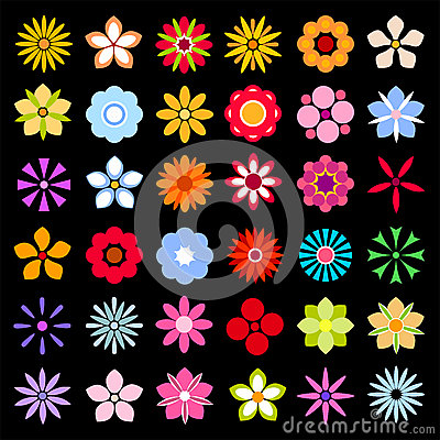 Free Flower Icons Isolated On Black Background Collection Stock Photography - 93316232