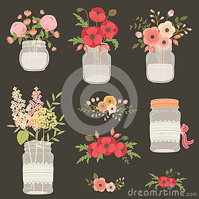 Free Flower In Mason Jars. Royalty Free Stock Photography - 72548737