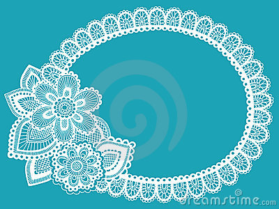 Flower Lace Doily Frame Vector Design Element