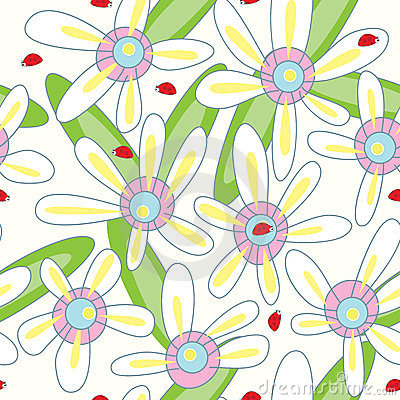 Flower Ladybird Seamless Pattern_eps