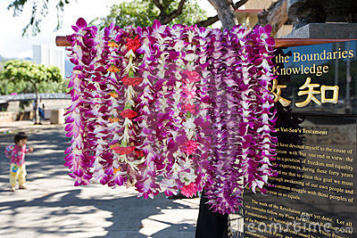 Flower leis at Dr. Sun Yat-sen Statue Editorial Photography