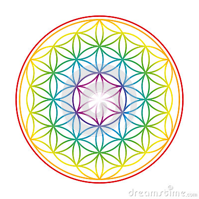 Flower Of Life Colorful Vibrant Glow Vector Illustration