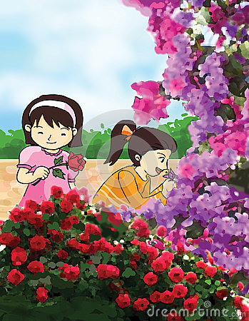 Flower and little girls illustration
