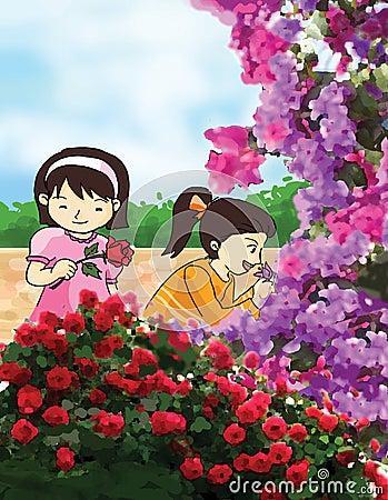 Flower and little girls illustration