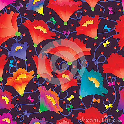 Free Flower Love Butterfly Colorful Seamless Pattern Stock Images - 74331304