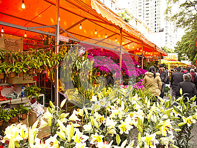 Flower market in Haizhu District Editorial Photo