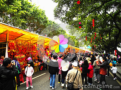 Flower market in Haizhu District Editorial Stock Image