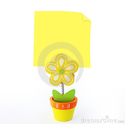 Flower note holder with empty yellow note