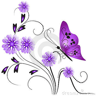 Flower ornament with butterfly.