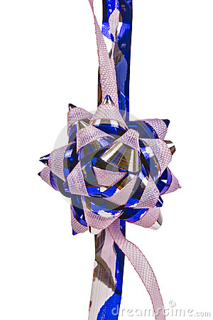 Flower ornament,  pink and blue