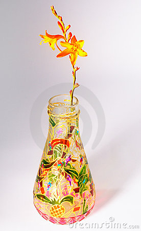 Flower in painted bottle