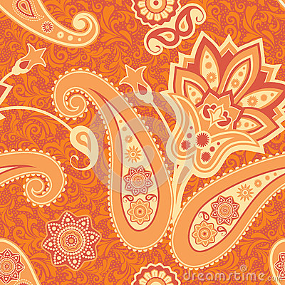 Flower and paisley seamless pattern