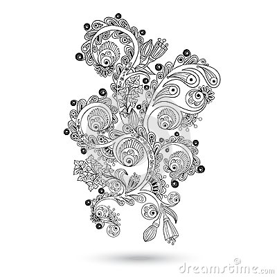 Flower pattern engraving scroll motif for card — Stock Vector ...