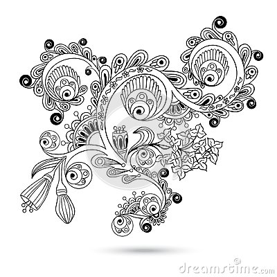Flower Pattern Engraving Scroll Motif For Vintage Design Card Vector