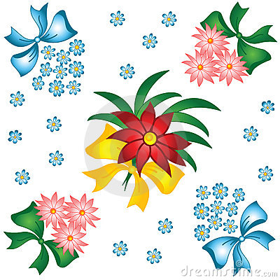 Flower pattern. Small bouquets with bows.