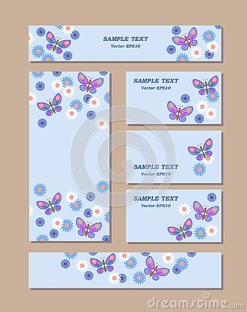 Flower patterns of different sizes with butterflies, daisies and cornflowers. For romantic and easter design, announcements, Cartoon Illustration