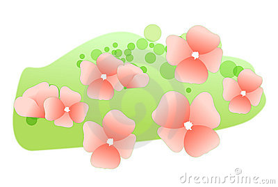 Flower petals on the lawn