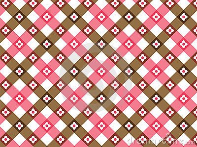 Flower pink and brown plaid