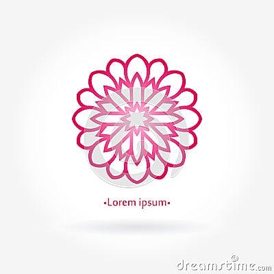 Free Flower Pink Logo. Stylized Rose Flower Logotype. Simple Circular Stock Photo - 80386120