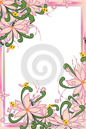 Free Flower Pink Pastel Bee Bird Swirl Green Leaves Frame Stock Photography - 61811382
