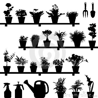 Free Flower Plant Pot Silhouette Royalty Free Stock Photography - 15285957