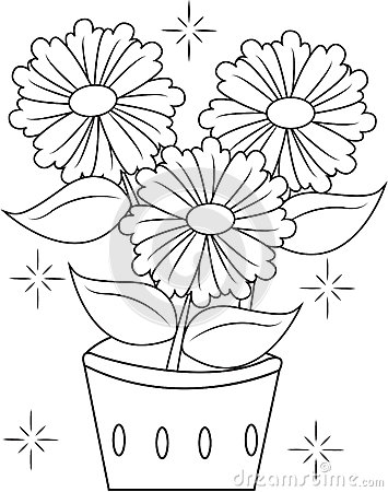 flower pot coloring page stock illustration image 51089209
