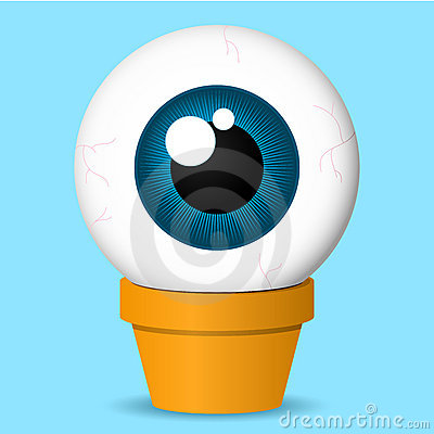 Flower pot with huge eyeball