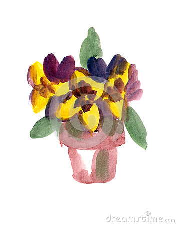 Flower-pot painted in Watercolor