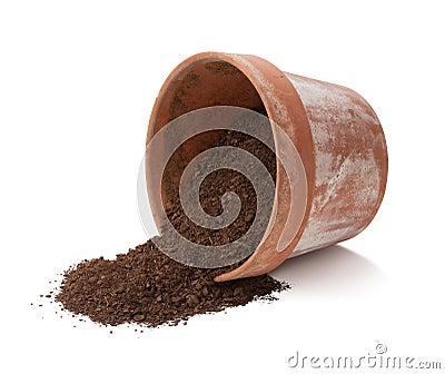 Flower Pot Spilling Dirt