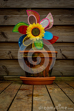 Free Flower Pot With A Toy Windmill And A Sunflower. Stock Photography - 55955262
