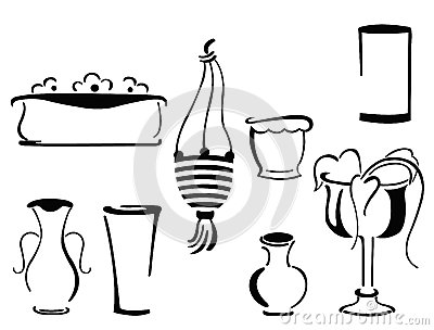 Flower pots and vase