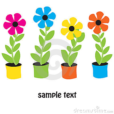 Flower pots. Vector card.