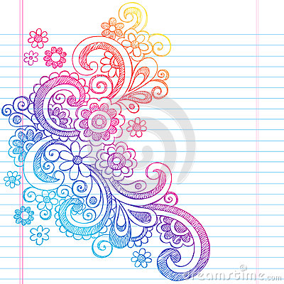 Flowers Sketchy Back to School Doodle Vector Illus
