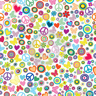 Free Flower Power Background Seamless Pattern With Flowers, Peace Signs, Circles And Butterflies Royalty Free Stock Photography - 45303127