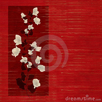 Flower print on Stained red wood