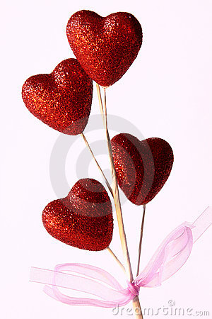 Flower of Red Hearts on White Background