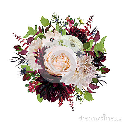 Free Flower Round Wreath Bouquet Of Pink Rose Burgundy Flowers Dahlia Royalty Free Stock Photography - 97458537