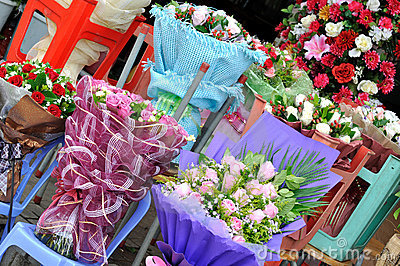 Flower selling at flower shop