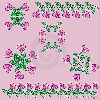 Flower set with hearts