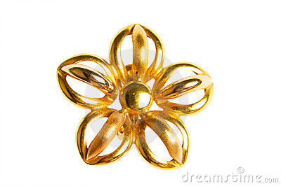 Flower shaped gold earring