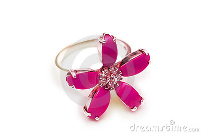 Flower shaped ring isolated